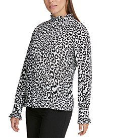 Animal Printed Ruffle-Neck Top