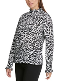 DKNY Petite Animal Printed Ruffle-Neck Top