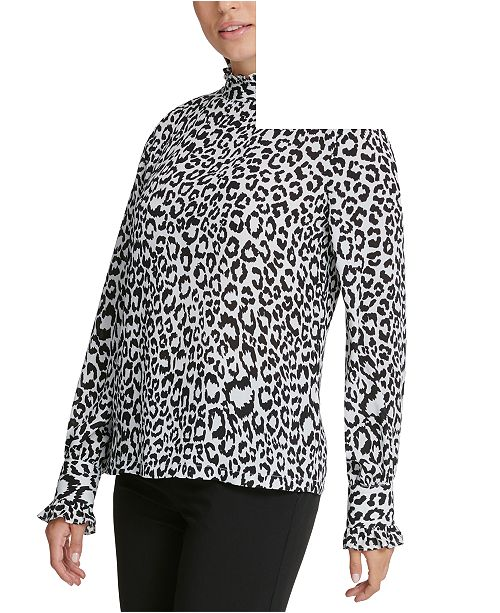 DKNY Animal Printed Ruffle-Neck Top