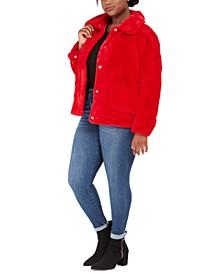 Juniors' Plus Size Faux-Fur-Jacket