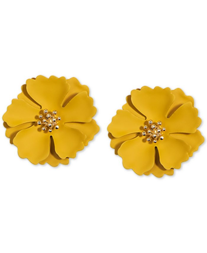 Zenzii - Gold-Tone & Suede-Painted-Finish Camellia Stud Earrings