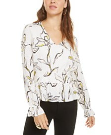 Bar III Floral-Print Smocked Top, Created for Macy's