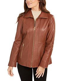 Anne Klein Wing-Collar Leather Jacket