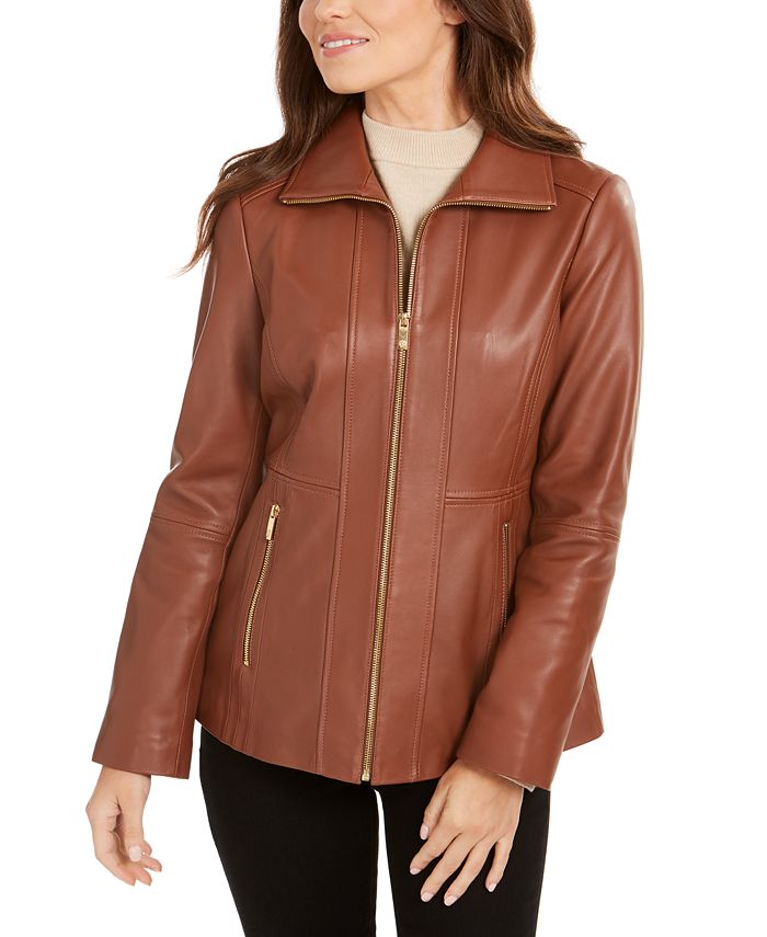 Anne Klein - Wing-Collar Leather Jacket
