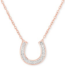"""Diamond Horseshoe 18"""" Pendant Necklace (1/10 ct. t.w.) in 14k Rose Gold-Plated Sterling Silver"""