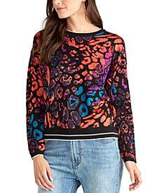 RACHEL Rachel Roy Animal Printed Pullover Sweater