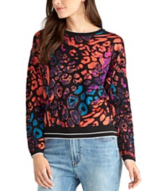 RACHEL Rachel Roy Animal Printed Pullover Sweater