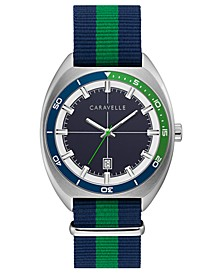 Men's Blue & Green Nylon Nato Strap Watch 40mm