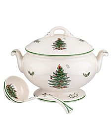 Christmas Tree Footed Tureen with Ladle