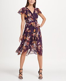 DKNY Flutter Sleeve Chiffon Midi Dress