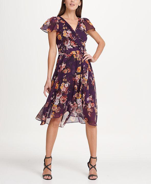 DKNY Flutter Sleeve Chiffon Midi Dress