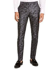 Tallia Men's Charcoal Black Floral Pant