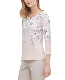 Calvin Klein Embellished Floral-Print Top