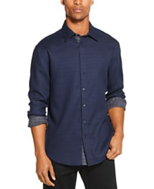 DKNY Men's Reversible Solid & Plaid Shirt