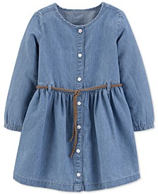 Toddler Girls Belted Denim Shirtdress