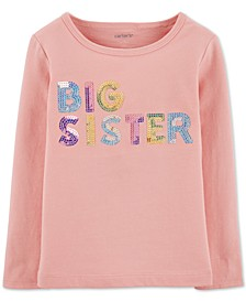 Toddler Girls Sequinned Big Sister-Print Cotton T-Shirt