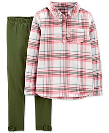 Little & Big Girls 2-Pc. Plaid Twill Top & Leggings Set