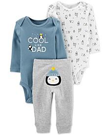 Baby Boys 3-Pc. Cotton Bodysuits & Penguin Pants Set