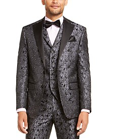 Tallia Men's Charcoal Black Floral Dinner Jacket