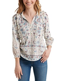 Lucky Brand Cotton Ruffled Peasant Top