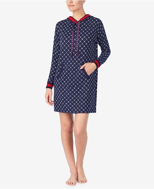 DKNY Women's Hooded Printed Sleepshirt Nightgown