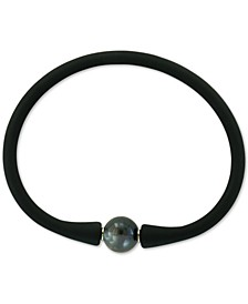EFFY® Black Cultured Freshwater Pearl (11mm) Silicone Rubber Bracelet