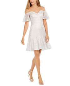 Tadashi Shoji Off-The-Shoulder Embroidered Dress