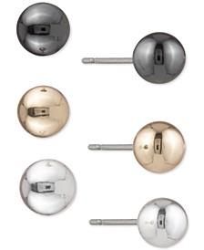 Tri-Tone 3-Pc. Set Ball Stud Earrings