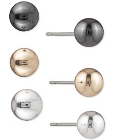 DKNY Tri-Tone 3-Pc. Set Ball Stud Earrings