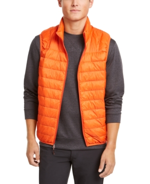 Hawke & Co. Outfitter Men's Packable Down Blend Puffer Vest In Princeton Orange
