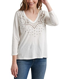 Cotton V-Neck Embroidered T-Shirt