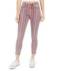 Juniors' Striped Ankle Jeans