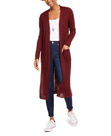 Derek Heart Juniors' Lace-Up Open-Front Duster Cardigan