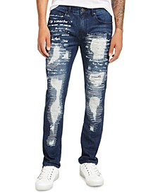 INC Men's Slim-Fit Ripped Scribble Jeans, Created for Macy's
