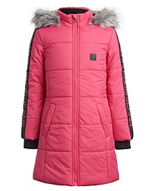 Little Girls Hooded Puffer Jacket With Faux-Fur Trim