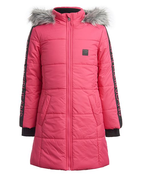 Calvin Klein Toddler Girls Hooded Puffer Jacket With Faux-Fur Trim