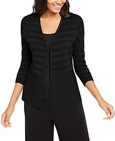 Textured-Stripe Open-Front Cardigan, Created for Macy's