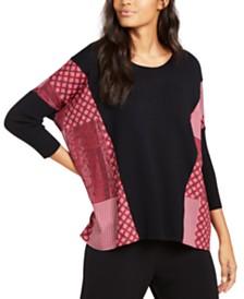 Alfani Contrast-Trim Poncho Sweater, Created for Macy's