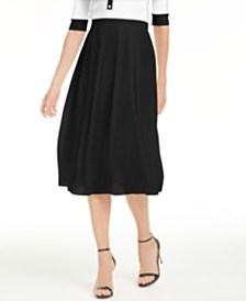 Anne Klein Pleated A-Line Midi Skirt