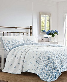 Flora Blue Quilt Set, Full/Queen