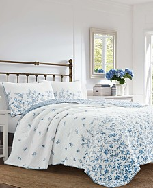 Laura Ashley Flora Blue Quilt Set, Full/Queen