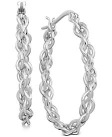 Twisted Chain Hoop Earrings in Fine Silver-Plate