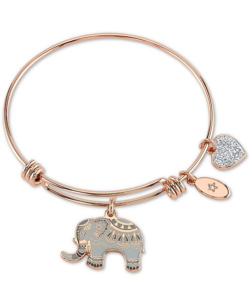 """Unwritten """"All Good Things are Wild and Free"""" Elephant Charm Adjustable Bangle Bracelet in Rose Gold-Tone & Stainless Steel"""