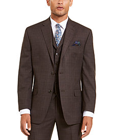 Sean John Men's Classic-Fit Stretch Brown Neat Suit Separate Jacket