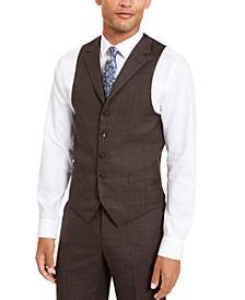 Men's Classic-Fit Stretch Brown Neat Suit Separate Vest