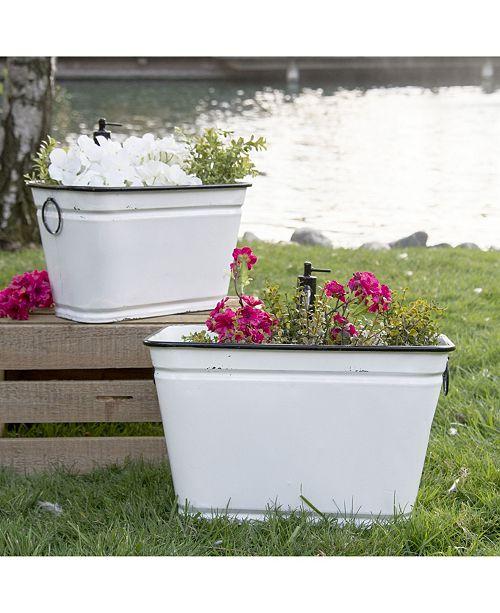 VIP Home & Garden 2-Piece Metal Faucet Planters