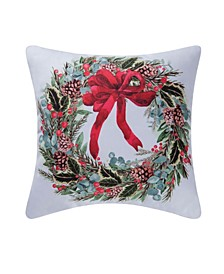 Holly Berry Wreath Indoor/Outdoor Pillow
