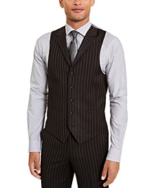 Men's Classic-Fit Stretch Black Pinstripe Suit Separate Vest