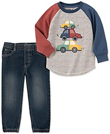 Baby Boys 2-Pc. Car-Print T-Shirt & Denim Jogger Pants Set