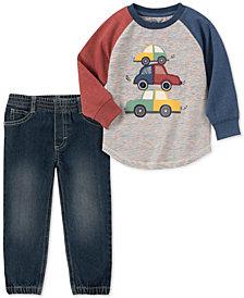 Kids Headquarters Baby Boys 2-Pc. Car-Print T-Shirt & Denim Jogger Pants Set